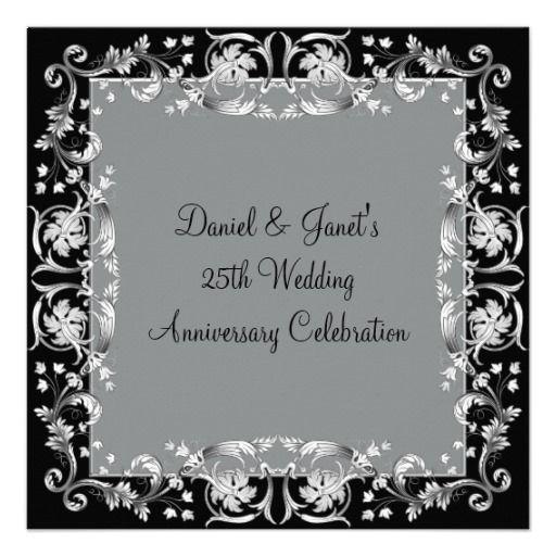 Silver Flower 25th Silver Wedding Anniversary Invitations Wedding