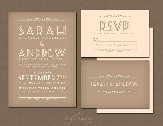 Country Cottage Rustic Wedding Invitation Suite // DIY Printable // Brown, Peach and Green