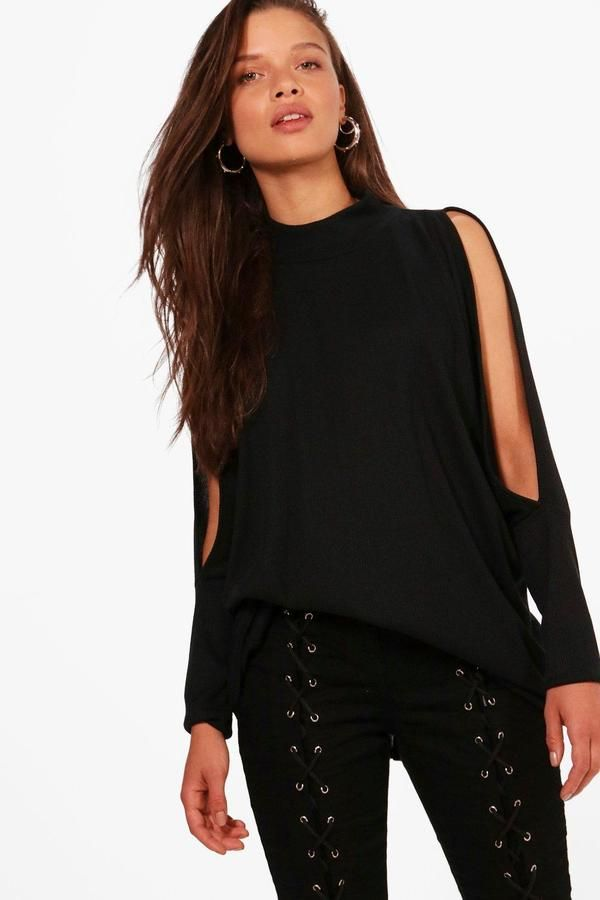 boohoo Ivy High Neck Cold Shoulder Batwing Top
