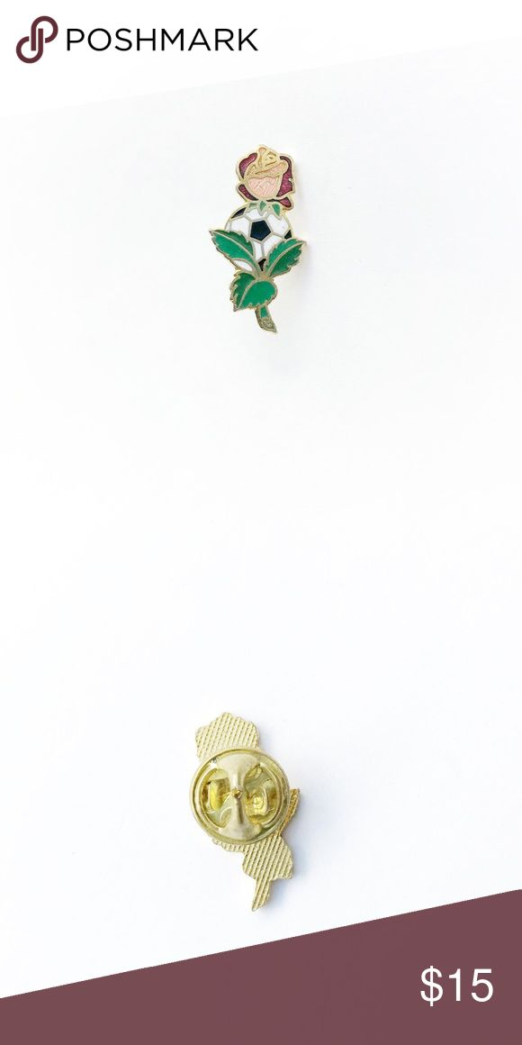 """Vintage Rose + Soccer Ball Enamel Pin Vintage Rose and Soccer Ball Enamel Pin  • true vintage • 1"""" x 1/2"""" • colors: gold, white, black, pink, red, green • tags: brooch, hat, lapel, heart, team, lover, player, coach, girls, boys, ball, game, champions, competition, bowl, favorite, club, football • all of the pins I sell are vintage and may contain minor nicks, imperfections, or oxidation Vintage Accessories"""
