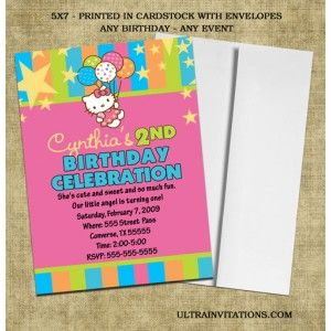 18 best hello kitty birthday invitations images on pinterest hello adorable cute hello kitty birthday party invite with stripes stopboris Image collections