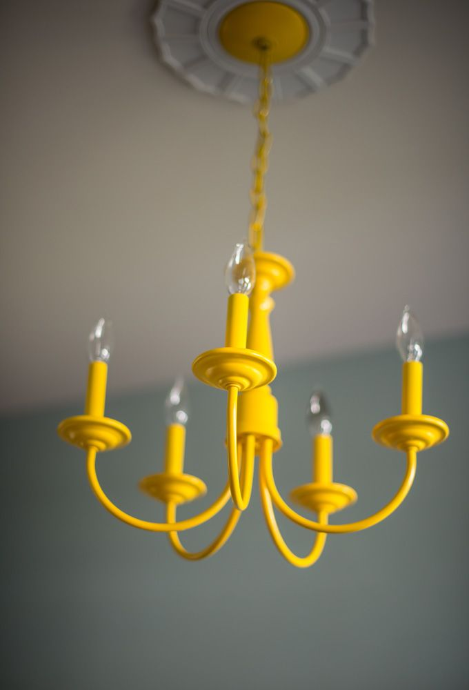 DIY painted Yellow Chandelier - pop of colour in teal/blue room
