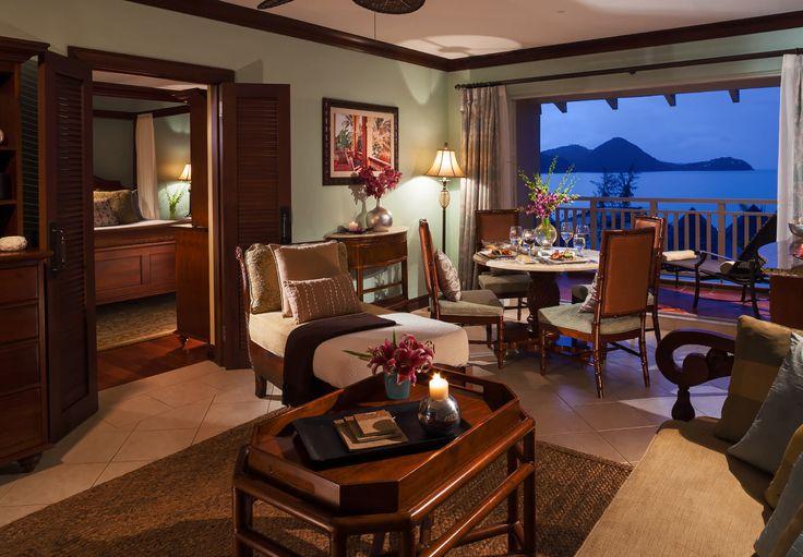 Caribbean Honeymoon Oeanview Penthouse Club Level Living Room, Sandals Grande St. Lucian.