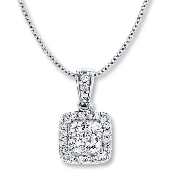 Diamond Necklace 1/2 ct tw Princess-cut/Round 14K White Gold ($1,000) ❤ liked on Polyvore featuring jewelry, necklaces, white gold diamond pendant, 14k necklace, white gold pendant necklace, princess cut diamond pendant and diamond pendant necklace