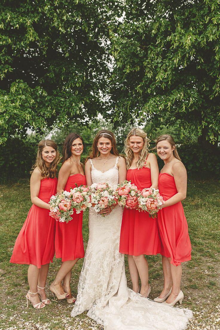 Short Bridesmaid Dresses Relaxed Rustic Coral Peony Barn Wedding http://www.benjaminstuart.co.uk/