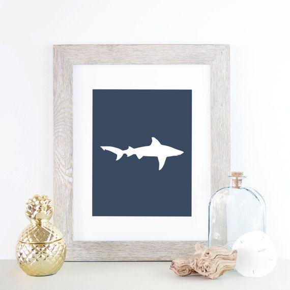 Kids Room Decor Shark Poster Navy Wall Decor Shark Art