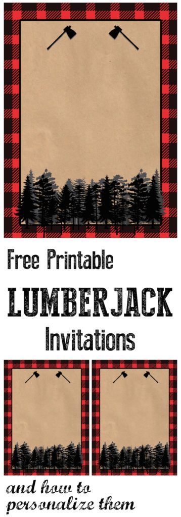 Lumberjack Invitation Free Printable. Throw a woodsy lumberjack birthday party and use this invitation. Also a tutorial on how to personalize these invitations using picmonkey.
