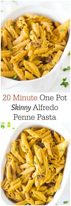 20 Minute one Pot Skinny Alfredo Penne Pasta