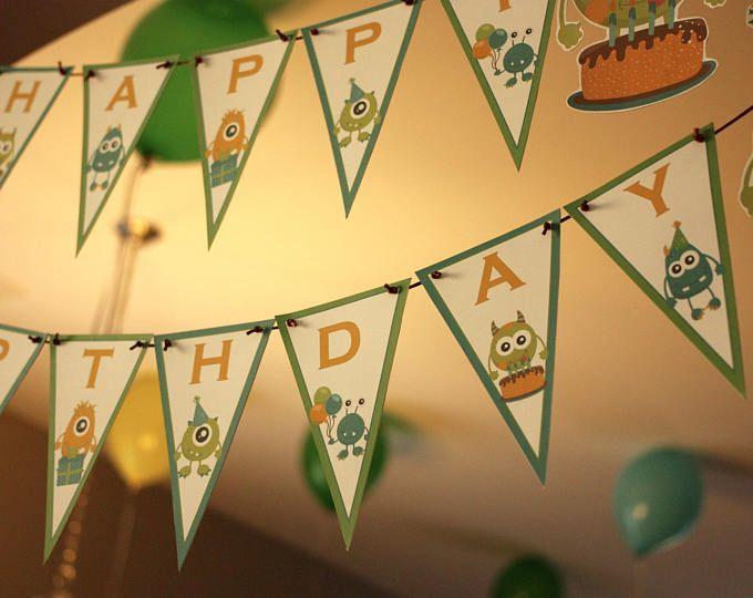 Monster Themed Birthday Banner | Happy Birthday Banner with Monsters | Custom Birthday Banner Photo Prop