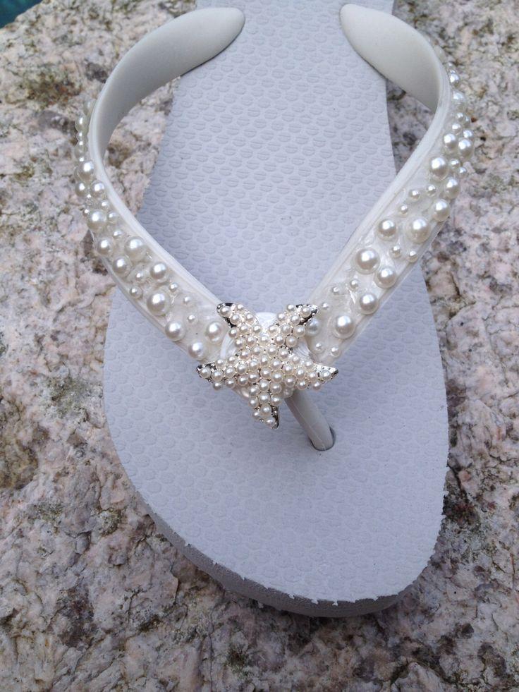 Wedding Flip Flops/Wedges/Sandals for Bride/Bridesmaids.White Bridal Flip Flops.Flip Flops with PEARLS.Starfish. Beach Weddings. by RocktheFlops on Etsy https://www.etsy.com/uk/listing/195457191/wedding-flip-flopswedgessandals-for