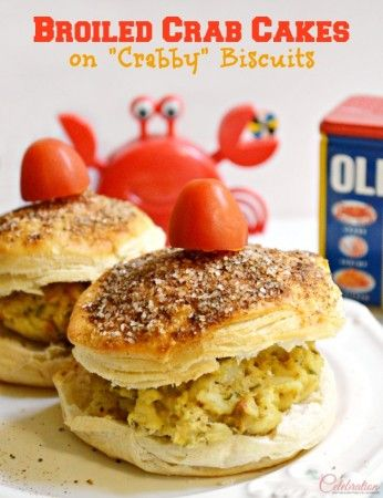 """Broiled Crab Cakes on """"Crabby"""" Biscuits"""
