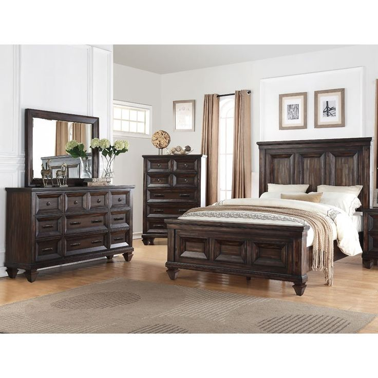 Sevilla 5 Piece King Walnut Panel Bedroom Set   Weekends Only Furniture And  Mattress