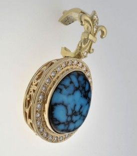 18k Gold and Bisbee Turquoise Pendant with Diamonds