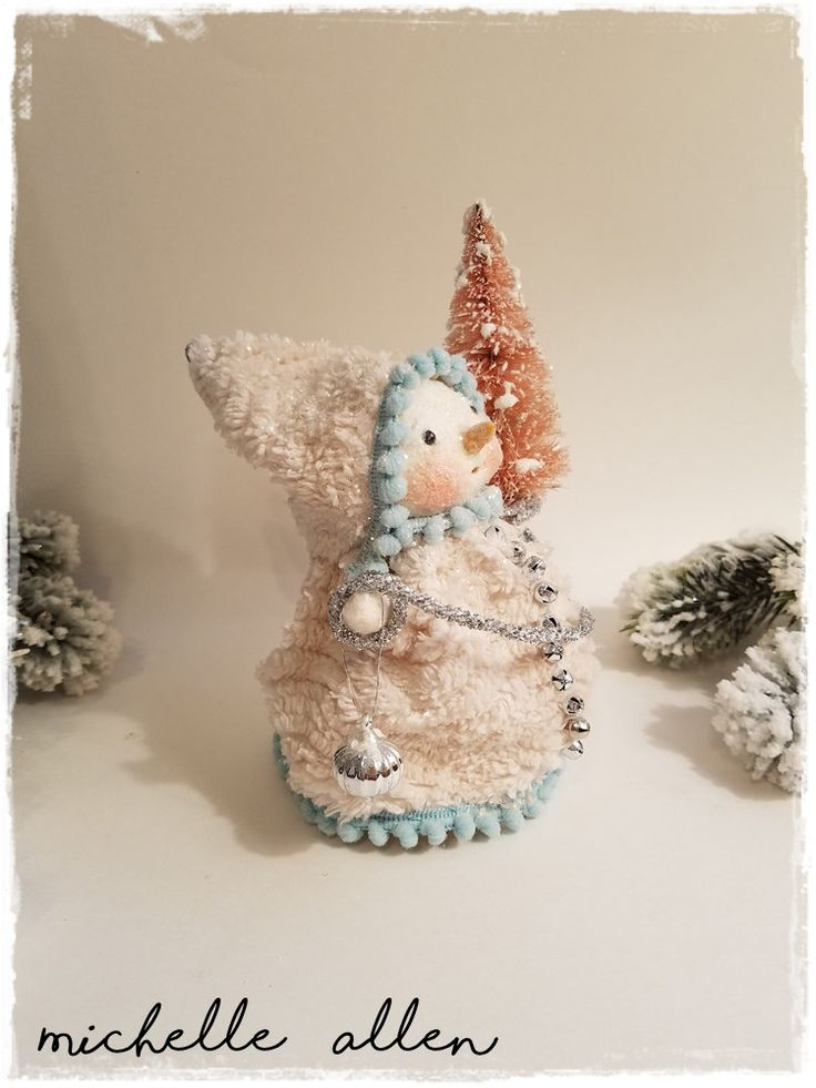 Folk Art paper Clay Pretty Snowman girl Doll in Chenille Dress decorating her Tree handmade by Michelle Allen / Raggedy Pants Designs by RaggedyPantsDesigns on Etsy