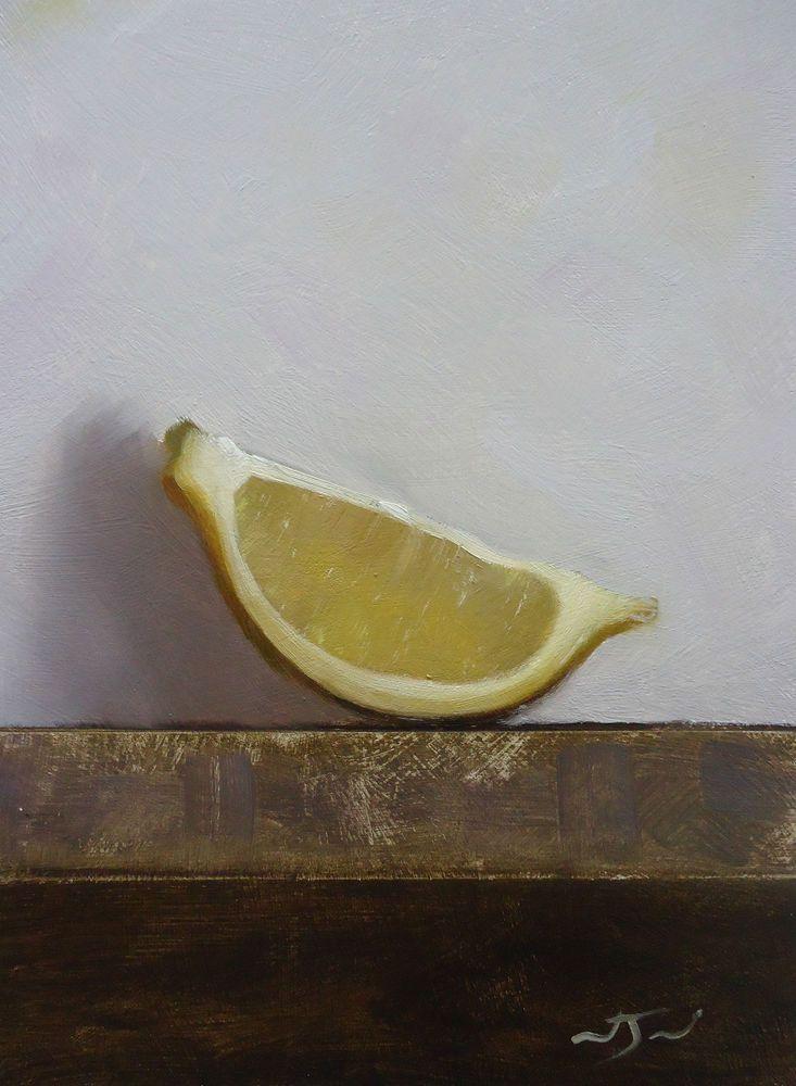 Original Oil Painting - Lemon Wedge - Contemporary Still Life Art - Nelson