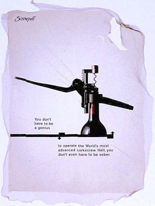 Product: Screwpull Corkscrew Agency: Tbwa\ Country: United Kingdom Released: October 1999 Copywriter: NIGEL ROBERTS Art Director: PAUL BELFORD Account Supervisor: CHRISTINE JONES Advertiser Supervisor: MICHAEL SWORDER Creative Director: TREVOR BEATTIE Photographer: LAURIE HASKELL Typographer: PAUL BELFORD Other: The Print Ad titled SOBER was done by Tbwa\ advertising agency for product: Screwpull Corkscrew (brand: Le Creuset) in United Kingdom. It was released in the Oct 1999.