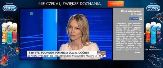 Reklama w czasie wywiadu z panią Magdaleną Ogórek #reklama #czasie #wywiadu #panią #Magdalena #Ogórek #durex