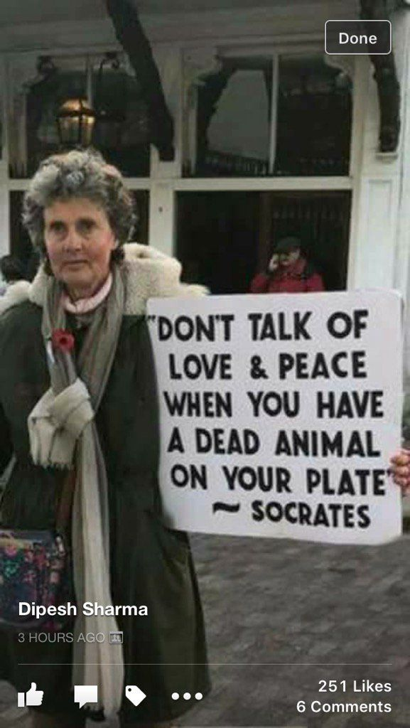 """Don't talk of peace and love when you have a dead animal on your plate"".   Socrates. Whether or not Socrates said it, it's a great quote."