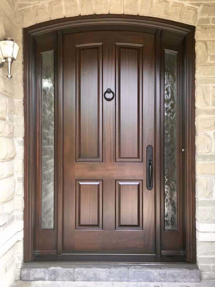 Magnificent Handmade Custommade Mahogany AmberwoodDoor With Clear Tafetta Glass Brown