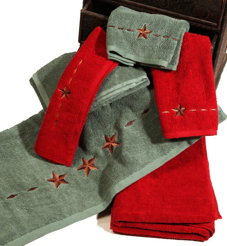 Embroidered Lone Star 3 Bath Towel Set - Texas Towels