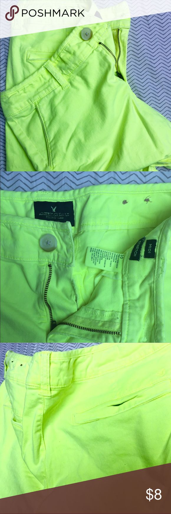 💚Neon Green American Eagle Shorts Bright neon green American Eagle shorts. There are very minor pen marks on the front (pictured) which is the reason for the low price. These are GREAT summer shorts to show off tan legs! They can be dressed up or down 💚😍 American Eagle Outfitters Shorts
