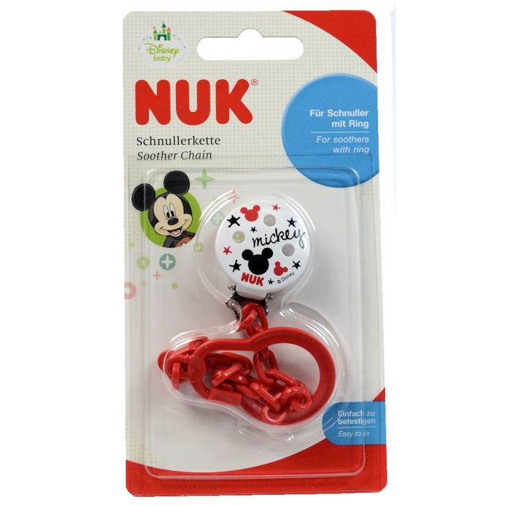 NUK Disney Mickey Minnie Mouse Soother Pacifier Chain 0-36 M Girls RED (8706-1)