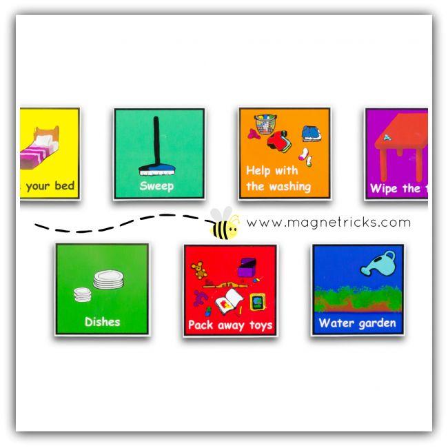 Magnetic home helper chore set
