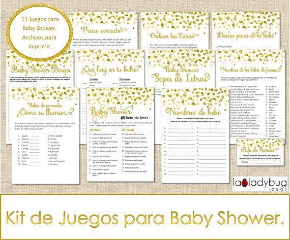 Juegos para baby shower.  Kit de 11 juegos para imprimir.  Incluye: Bingo, sopa de letras, nombres de bebés de famosos, nombres de bebés de animales, ordena las letras, carrera de nombres, rifa de pañales, desesos para el bebé, reto de fotos, Qué hay en tu bolso y precio correcto.