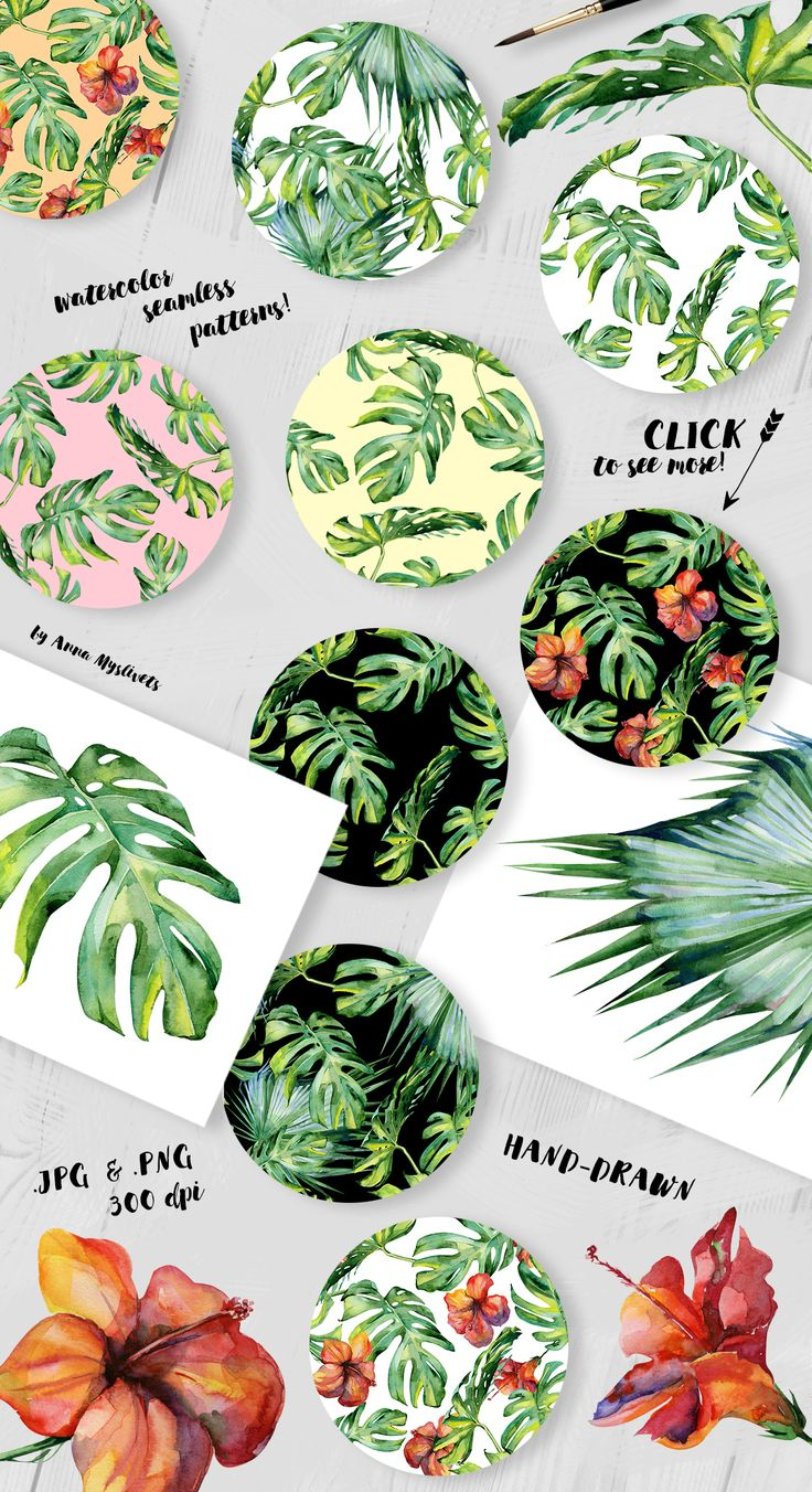 Watercolor set of tropical patterns  by Anna Myslivets on @creativemarket