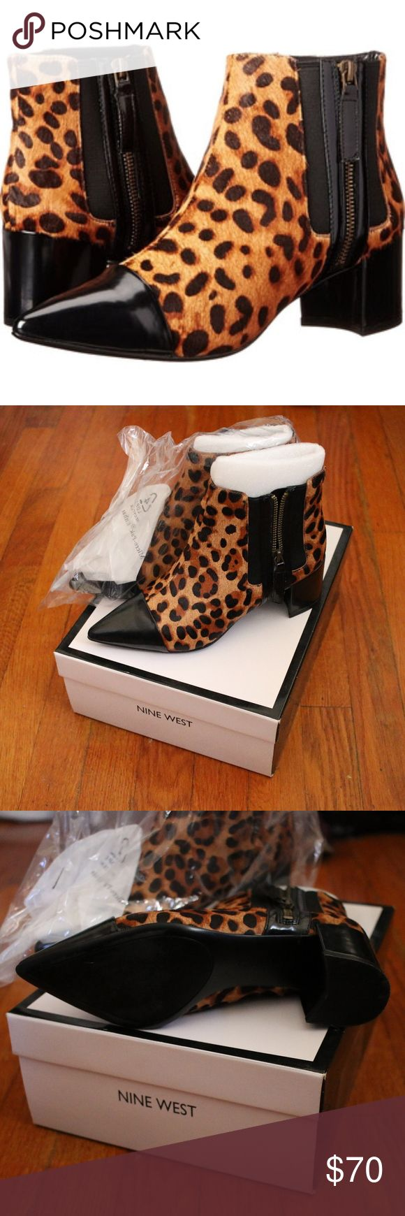 Nine West Wasabi Ankle Boot in Leopard Never worn and still in box with original packaging!  Pointed toe ankle boot with zipper.  The animal print is of real fur that is very short and lies flat--seems very durable.  The toe and heel of the boots are synthetic patent leather. Fits true to size.  Open to reasonable offers :) Nine West Shoes Ankle Boots & Booties