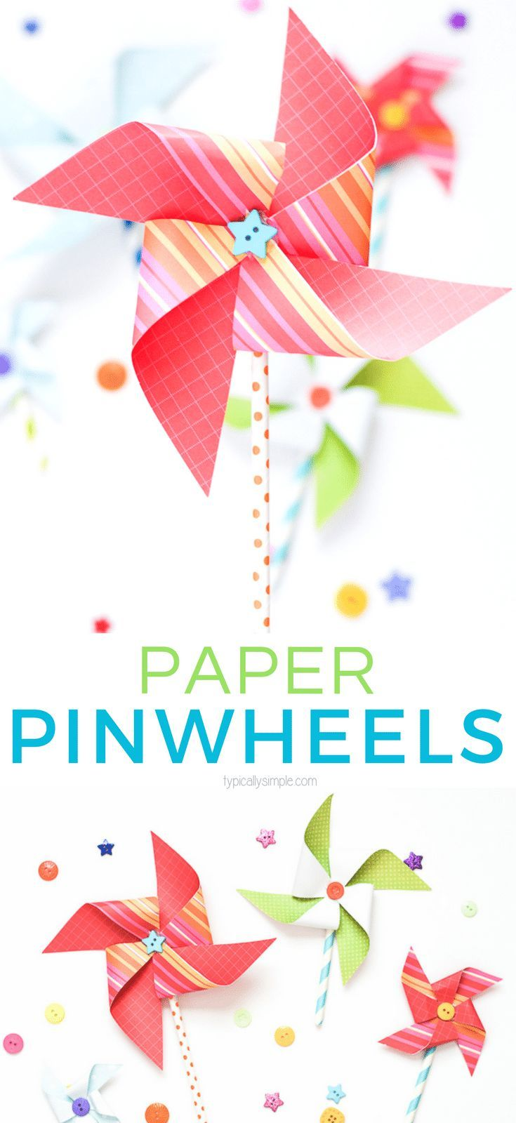 DIY Craft: These paper pinwheels are a cute way to add some pops of color to your decor. A fun spring or summer project to make with the kids! <a class=