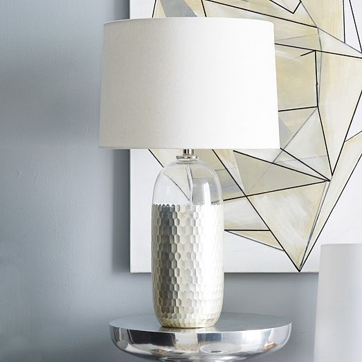 Our Metallic Honeycomb Glass Table Lamp Is Handblown By Artisans In India