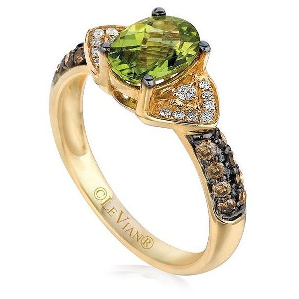 Levian Chocolatier Chocolate and Vanilla Diamonds and Peridot Ring-... ($925) ❤ liked on Polyvore featuring jewelry, rings, yellow gold, fine jewelry diamond rings, chocolate rings, diamond jewellery, chocolate diamond rings and peridot rings