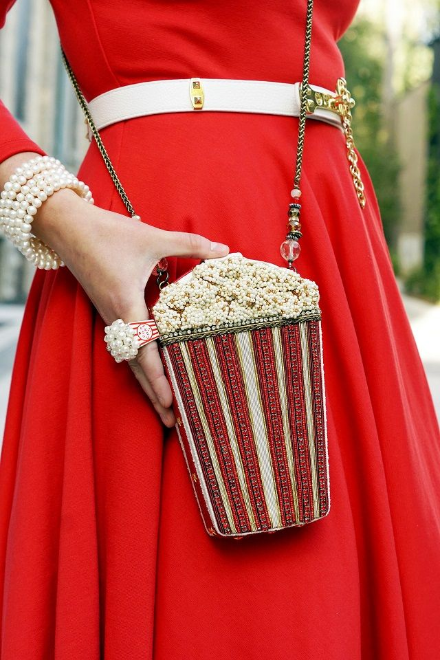 Winnipeg Style, Mary Frances Butter Me Up popcorn clutch bag, Claire's Katy Perry popcorn ring
