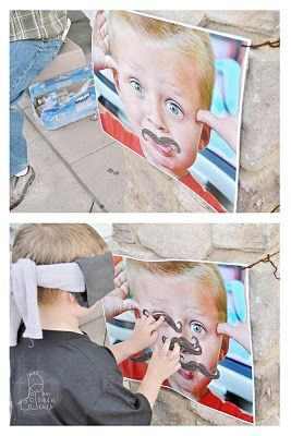 Pin the stache on _______.  Or for a girl, pin bright red lips on.  Fun alternative to Pin The Tail on The Donkey.