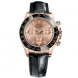 Replique Rolex Daytona Diamant cadran en or rose 18k bracelet en cuir 116515LND