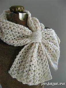 Ажурный шарф спицами от Katie Harris.