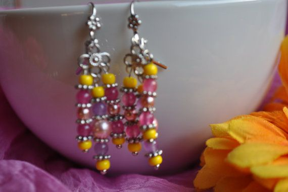 Spring Tender Pink and yellow  Chandeliers Sparkly by Chrismaia, $29.00