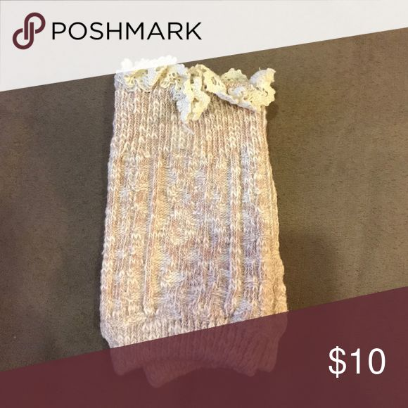 Tan and cream Boot Cuffs Cute Boot Cuffs with knitted detail around the top. Accessories