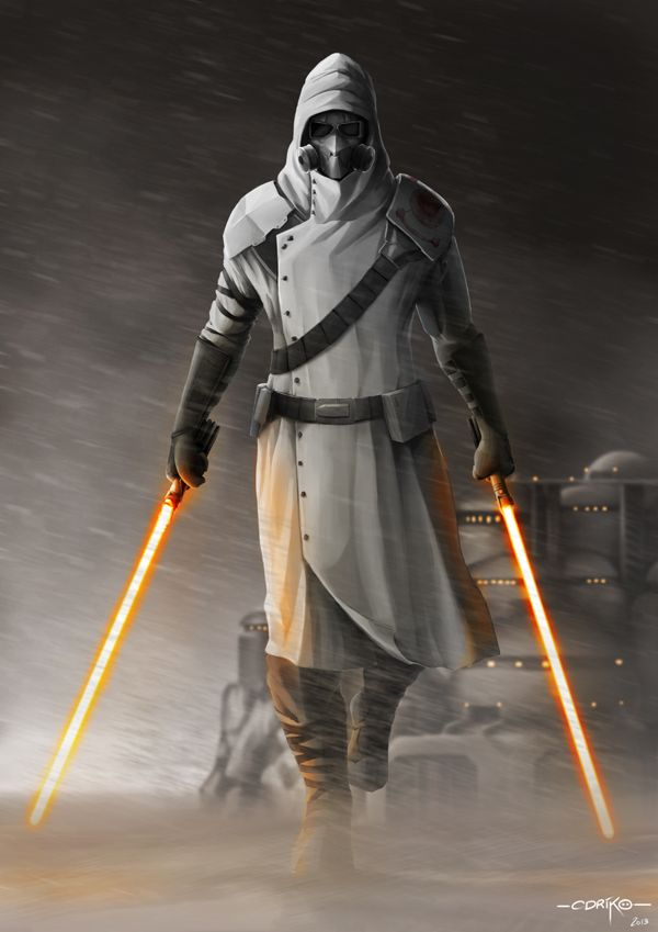 Clearly not a Jedi, but a Sith, as apparent by the red lightsabers and the fact that a Jedi would never be a mercenary. Jedi do not want.