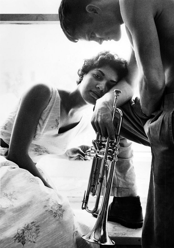 Chet Baker and his second wife Halima, 1955. Shot by William Claxton