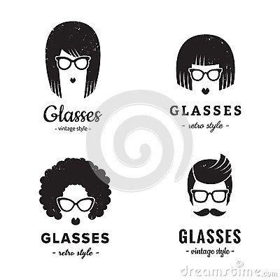 Femelle de vecteur de vintage de logo de lunettes et masculin réglés Hippie et rétro style