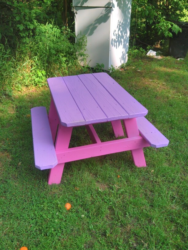 Little Girls Picnic Table: Early Clematis Petal And Ruling Radiant Orchid