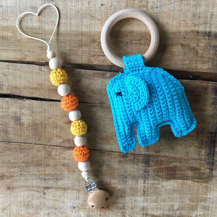 Simpel maar leuk kado speenkoord met olifantenrammelaar