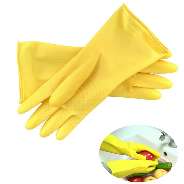 1Pair Thick Rubber Gloves Labor Household Kitchen Washing Cleaning Latex Gloves Yellow Color Safety Gloves Waterproof Oil-proof