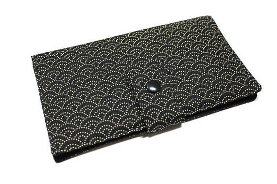 portefeuille chéquier cartes en tissu japonais unisexe noir et écru vagues