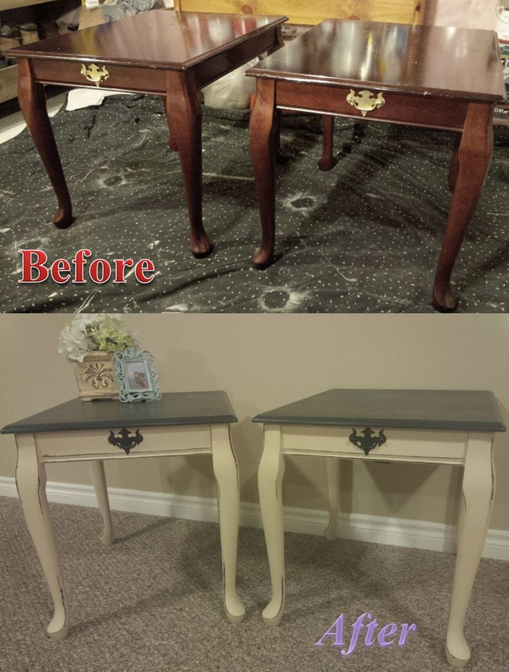 Queen Anne Side Tables; Before and After. Annie Sloan Chalk Paint; Graphite and Old Ochre.   #morethanpaint  #ASCP