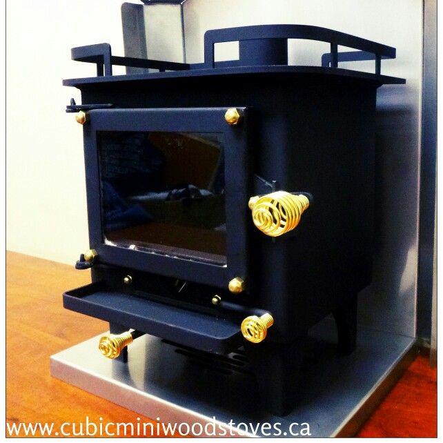 All black custom Cubic mini wood stove