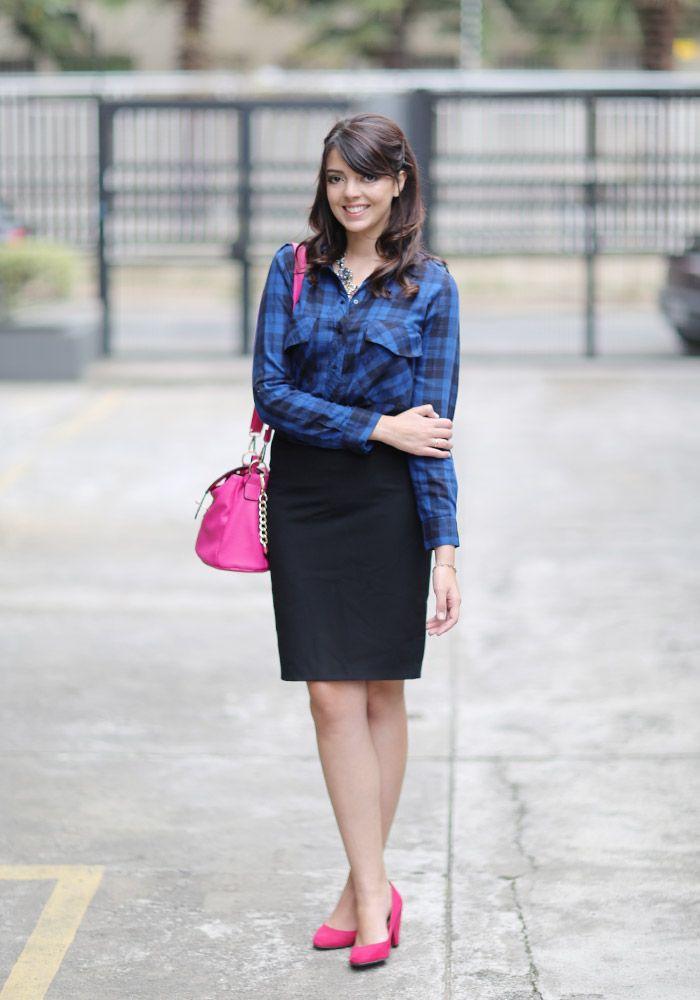 http://www.justlia.com.br/2013/10/look-do-dia-camisa-xadrez-com-saia-lapis/ Camisa Xadrez
