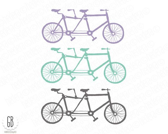 Tandem bicycle clip art, heart shaped balloons, bride, groom, ribbons, birds, just married, save the date, invitation, stationery, lavender